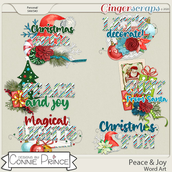 Peace & Joy - Word Art Pack by Connie Prince