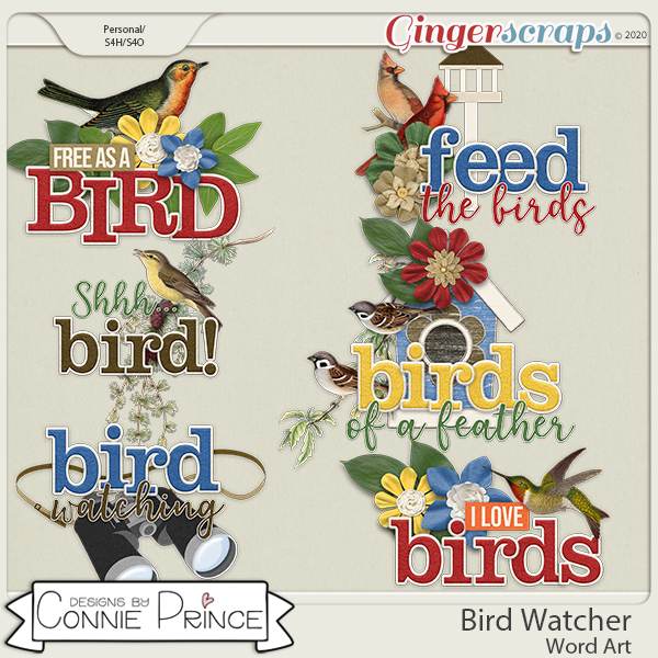 Bird Watcher - Word Art Pack by Connie Prince
