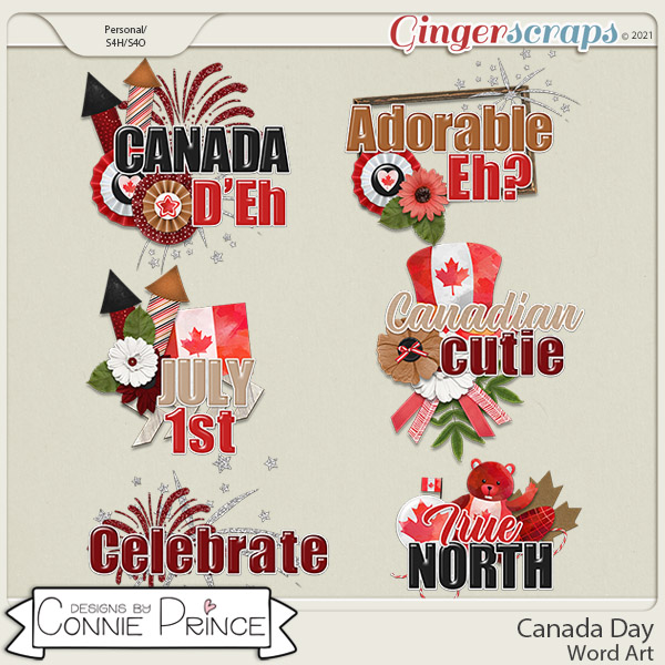 Canada Day  - Word Art Pack by Connie Prince