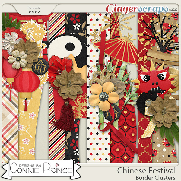 Chinese Festival - Border Clusters by Connie Prince