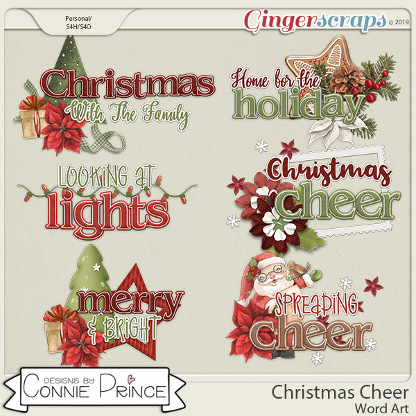 Christmas Cheer - Word Art Pack by Connie Prince