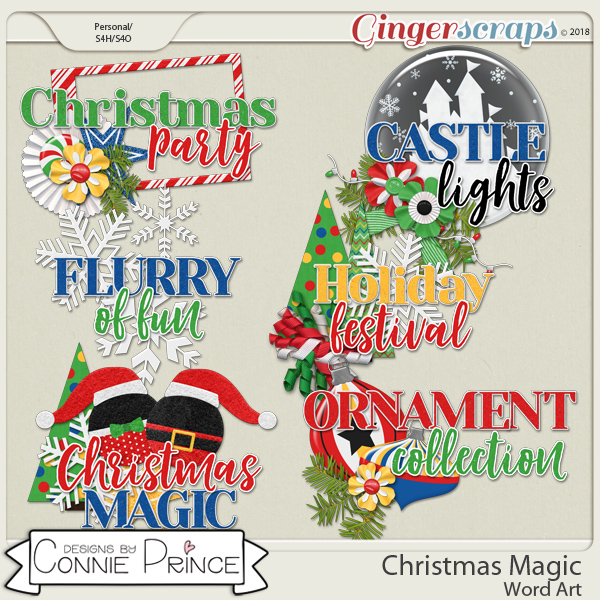 Christmas Magic - Word Art Pack by Connie Prince