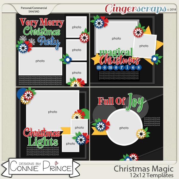 Christmas Magic - 12x12 Templates (CU Ok) by Connie Prince
