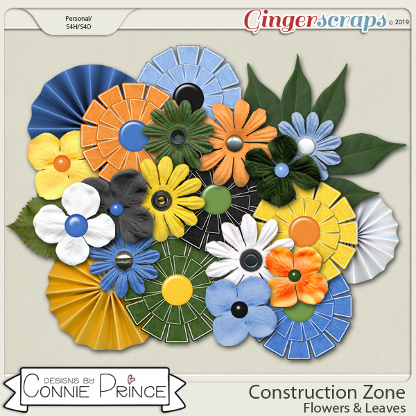 Construction Zone - Flowers & Leaves by Connie Prince