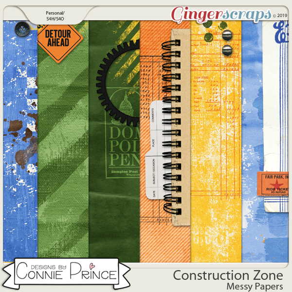 Construction Zone - Messy Papers by Connie Prince