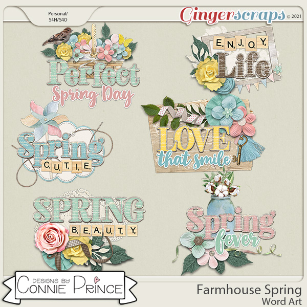 Farmhouse Spring - Word Art Pack by Connie Prince