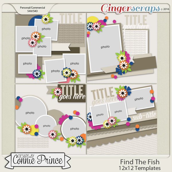 Find The Fish - 12x12 Templates (CU Ok)