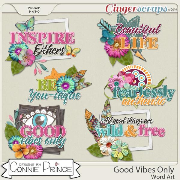 Good Vibes Only - Word Art Pack by Connie Prince