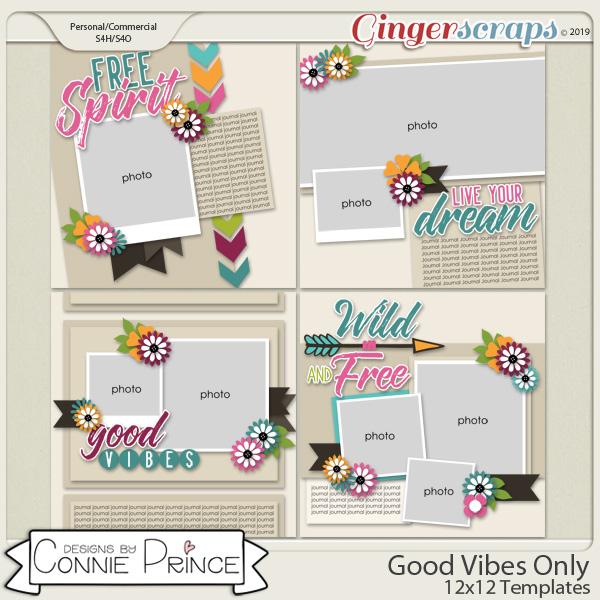 Good Vibes Only - 12x12 Templates (CU Ok) by Connie Prince