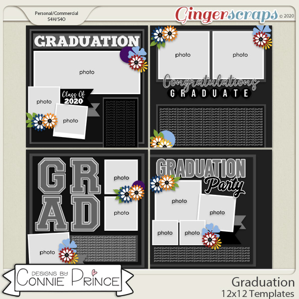 Graduation - 12x12 Templates (CU Ok) by Connie Prince