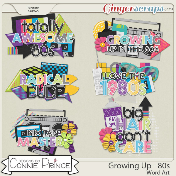 Growing Up 80's - Word Art Pack by Connie Prince