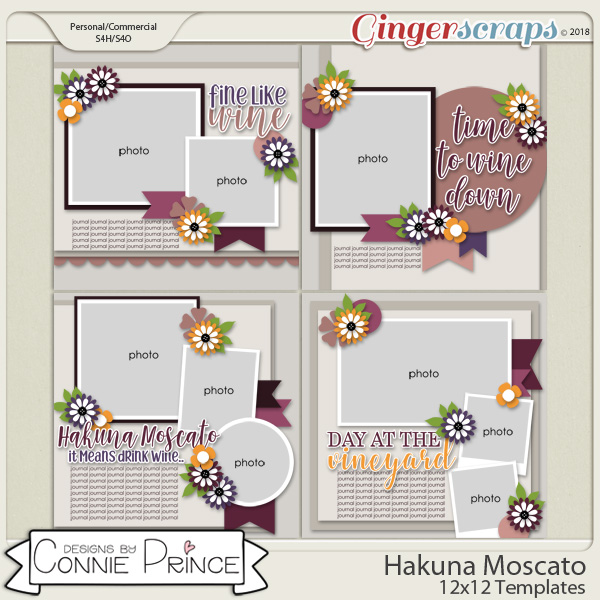 Hakuna Moscato - 12x12 Templates (CU Ok) by Connie Prince