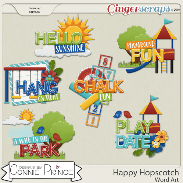 Happy Hopscotch - Word Art Pack by Connie Prince
