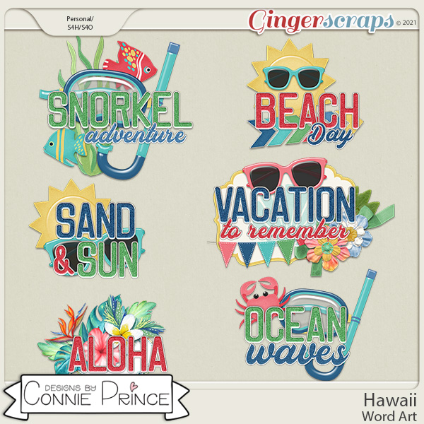 Hawaii  - Word Art Pack by Connie Prince