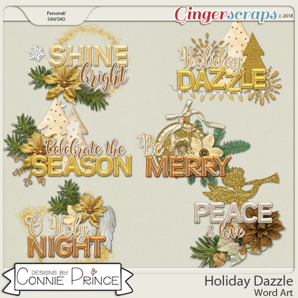 Holiday Dazzle - Word Art Pack by Connie Prince