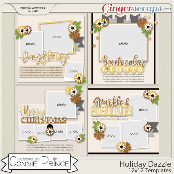 Holiday Dazzle - 12x12 Templates (CU Ok) by Connie Prince
