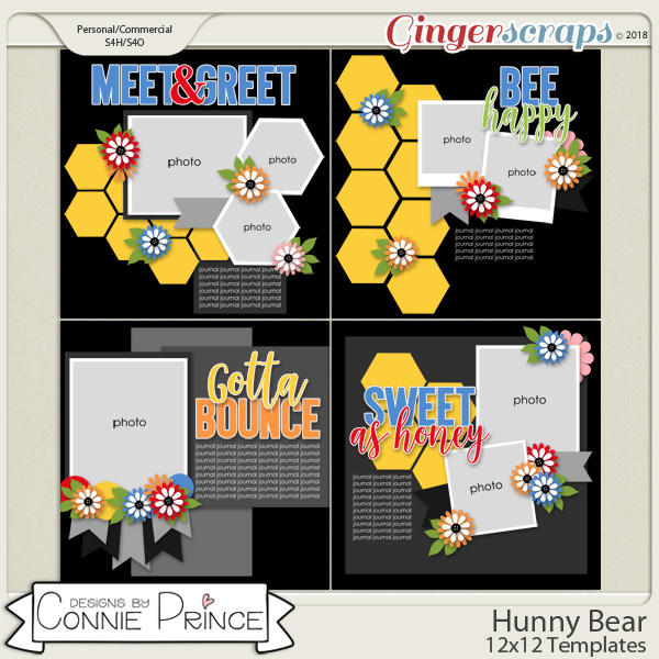 Hunny Bear - 12x12 Temps (CU Ok) by Connie Prince