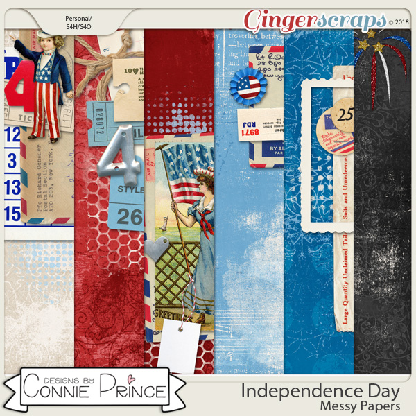 Independence Day - Messy Papers by Connie Prince