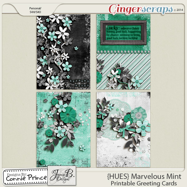 {HUES} Marvelous Mint - Printable Greeting Cards