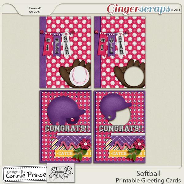 Softball - Printable Greeting Cards