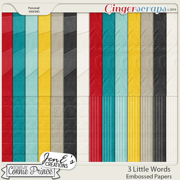 3 Little Words - Embossed Papers