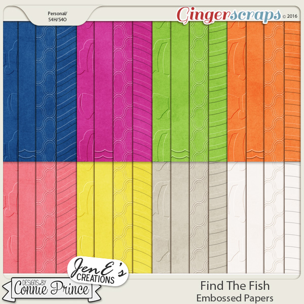 Find The Fish - Embossed Papers