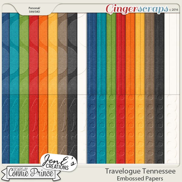 Travelogue Tennessee - Embossed Papers Pack