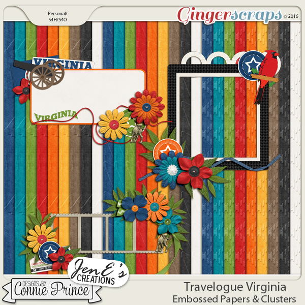 Travelogue Virginia - Embossed Papers Cluster Combo Pack
