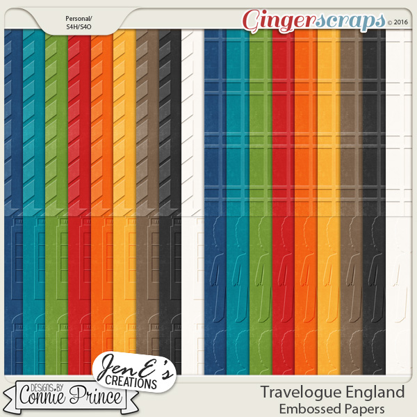 Travelogue England - Embossed Papers Pack