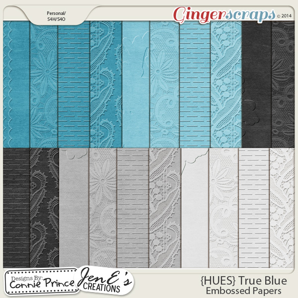 {HUES} True Blue - Embossed Papers