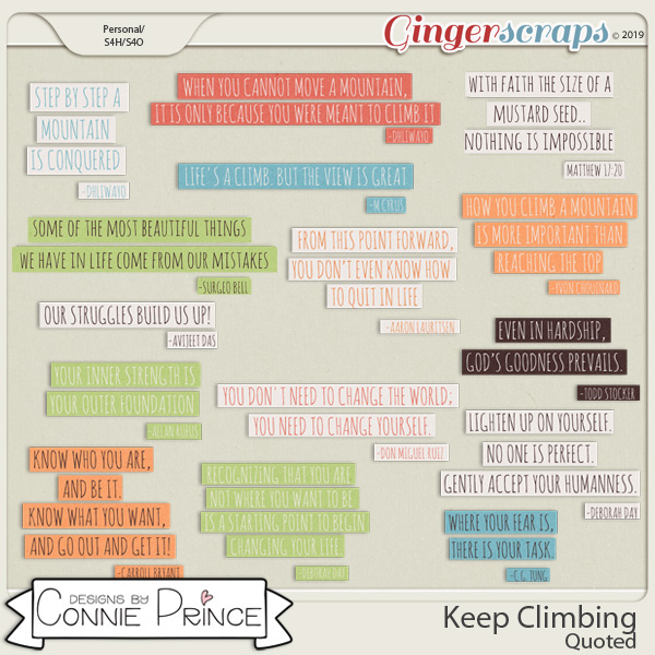 Keep Climbing - Quoted by Connie Prince