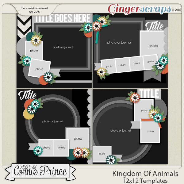 Kingdom Of Animals - 12x12 Templates (CU Ok)