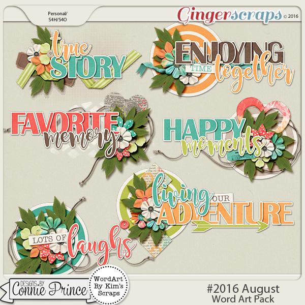 #2016 August - Word Art Pack