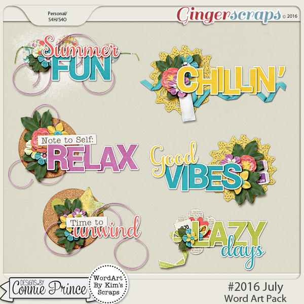 #2016 July - Word Art Pack