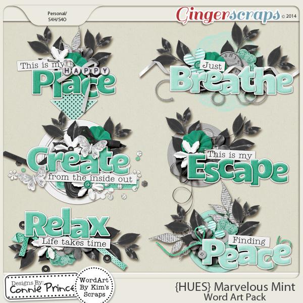 {HUES} Marvelous Mint - Word Art