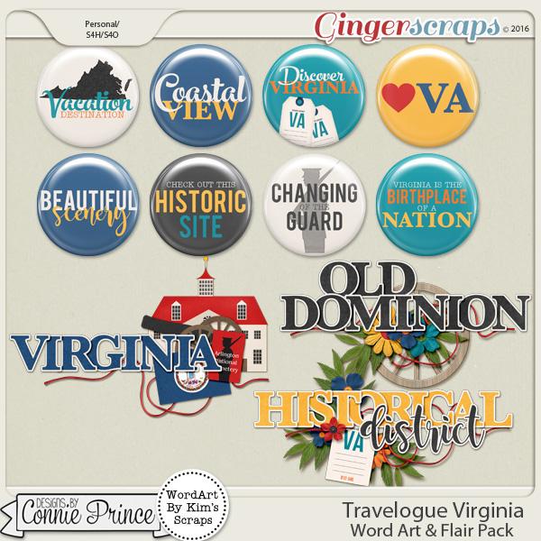 Travelogue Virginia - Word Art & Flair Pack
