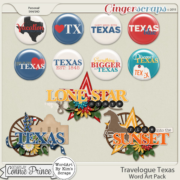 Travelogue Texas - Word Art & Flair Pack
