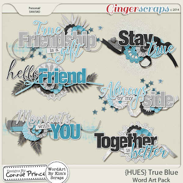 {HUES} True Blue - Word Art