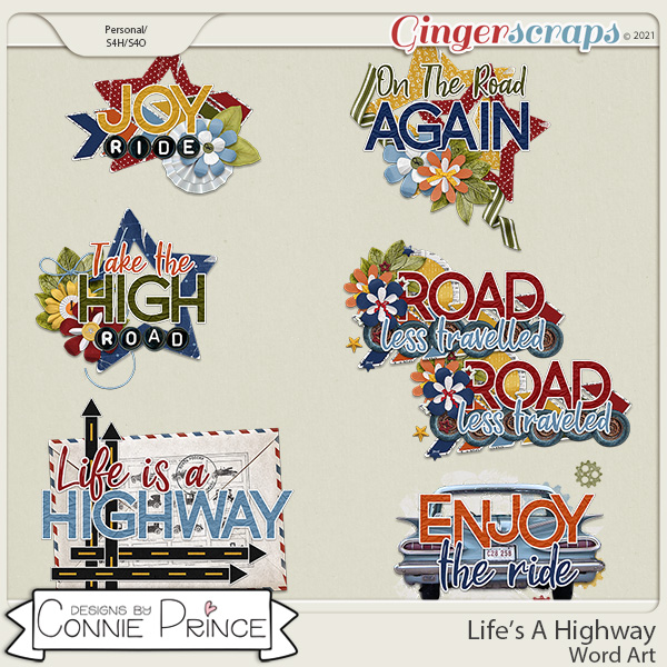 Life's A Highway - Word Art Pack by Connie Prince