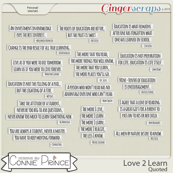 Love 2 Learn - Quoted by Connie Prince