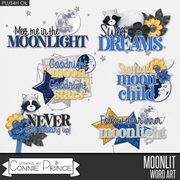 Moonlit - Word Art Pack by Connie Prince