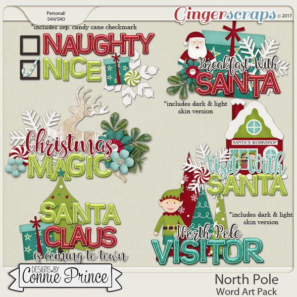 North Pole - WordArt Pack by Connie Prince