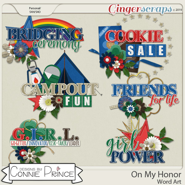 On My Honor - Word Art Pack by Connie Prince