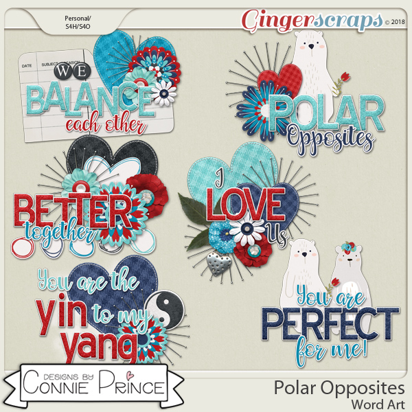 Polar Opposites - Word Art Pack by Connie Prince