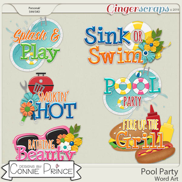 Pool Party - Word Art Pack by Connie Prince