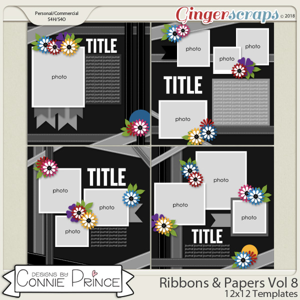 Ribbons & Papers Volume 8 - 12x12 Temps (CU Ok) by Connie Prince