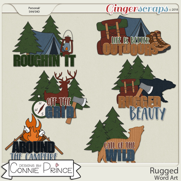 Rugged - Word Art Pack by Connie Prince