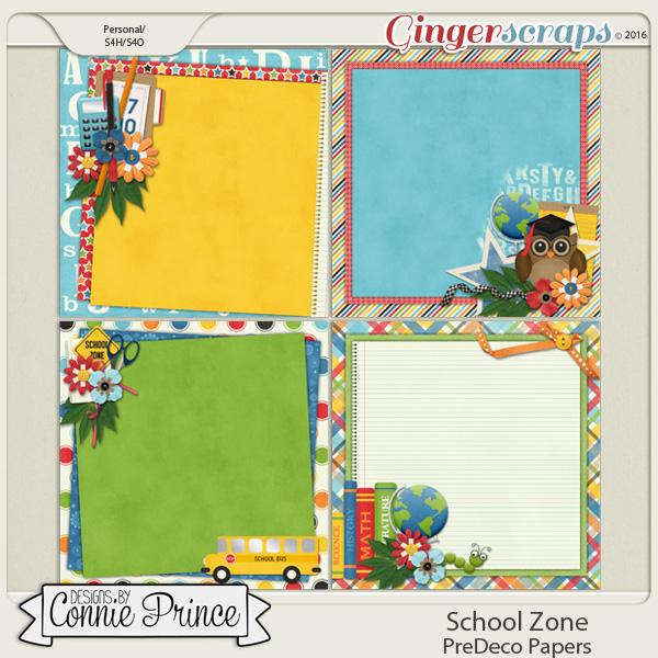School Zone - PreDeco Papers