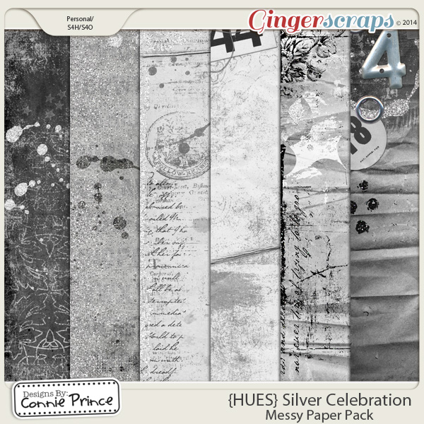{HUES} Silver Celebration - Messy Paper Pack