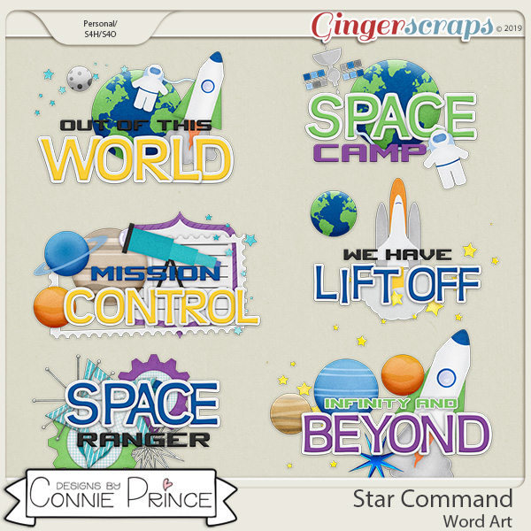 Star Command - Word Art Pack by Connie Prince
